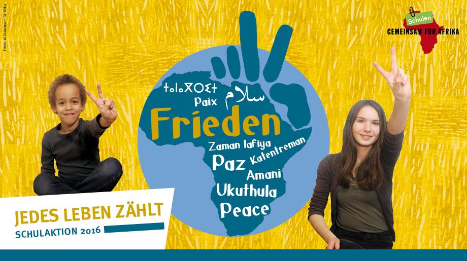 """Banner Schulaktion """"Frieden - Jedes Leben zählt"""""""