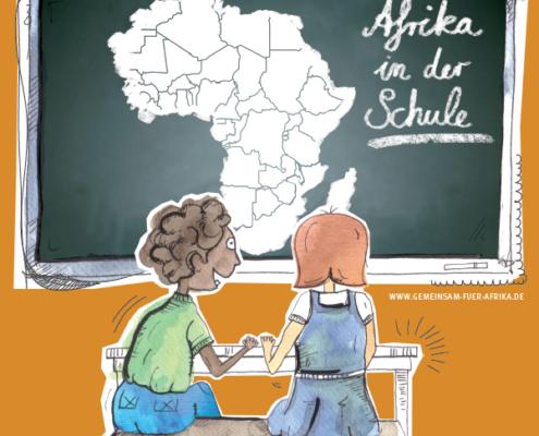 """Zeichnung von zwei Schüler*innen vor einer Tafel. Aufschrift """"Afrika in der Schule"""". ©GEMEINSAM FÜR AFRIKA"""