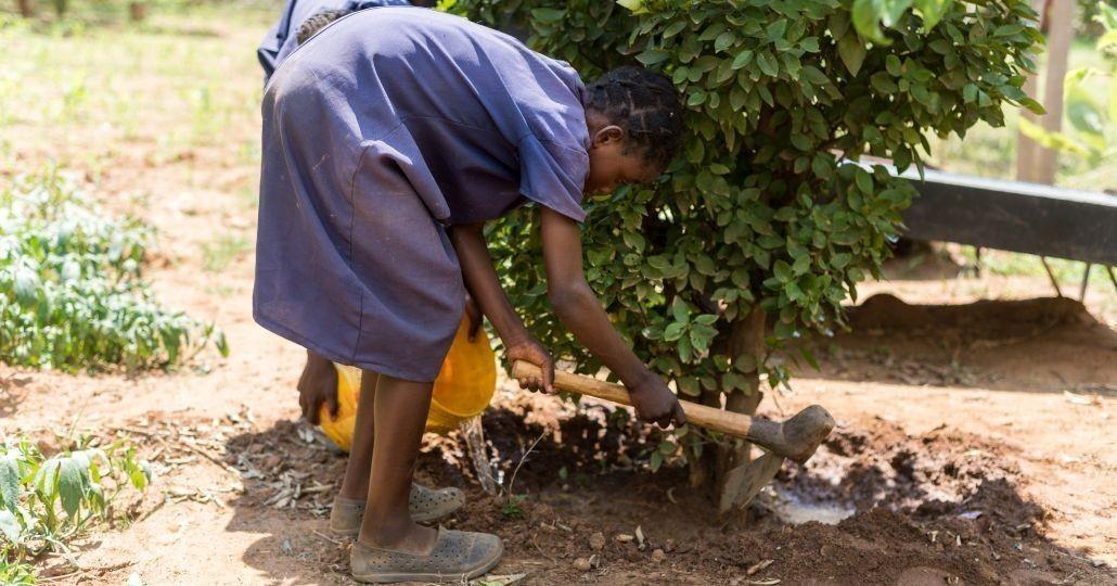 Ein Mädchen bei der Gartenarbeit in Sambia_©Gemeinsam für Afrika/Florian Oellers
