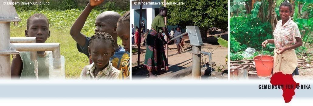 Die Mitgliedsorganisationen von GEMEINSAM FÜR AFRIKA fördern in Hunderten Projekten die Versorgung mit sauberem Trinkwasser.