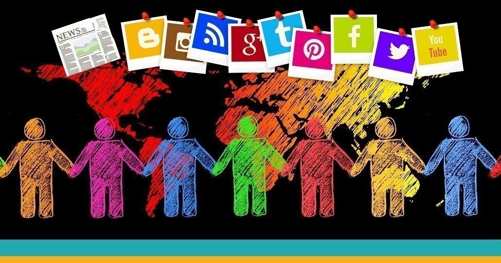 """Symbolbild """"Vernetzt euch"""": Bunte Zeichnung mit Weltkugel und Zeichentrickfiguren, die sich an der Hand halten"""