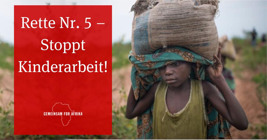 Straßenaktion 2021: Rette Nr 5 - Stoppt Kinderarbeit